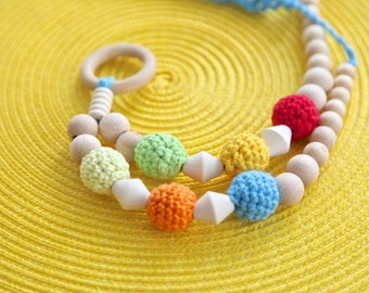 Nursing necklace, teething necklace toy. Mammy and baby teething crochet necklace. Girls beaded necklace.