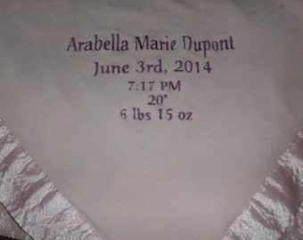 Mint Green , Baby Blue Baby Blanket Velour jersey knit Embroidered Personalized Themed Baby Blanket 30x 31