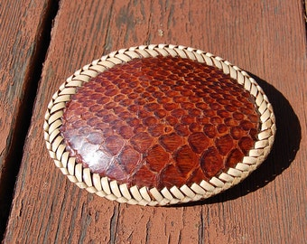 Sale~ vintage handcrafted COBRA HIDE by Bill Ford belt buckle