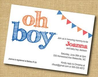 Oh Boy! Printable Baby Boy Shower Invitation