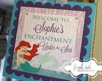Ariel The Little Mermaid Hanging Door Sign
