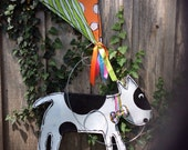 Black and White Spotted Dog with Spring Kite Door Hanger Wreath