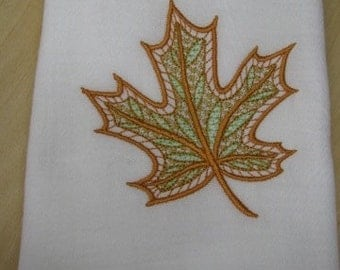 Delicate Green and Orange Leaf Towel - EXTRA STOCK