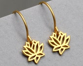 Lotus Flower Hoop Earrings, Gold Lotus Charm, 24K Gold Vermeil Style, Small, Tiny, Yoga, Gifts For Her, Blooming Flower