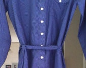 Lovely Retro Blue and White Polka Dot Shirt Dress with belt Medium/Large knee length 60s 70s long sleeves