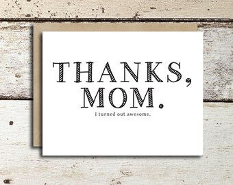 Mother's Day Card instant download/printable Thanks Mom