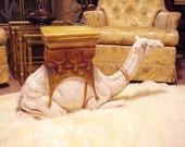 Hollywood Regency Monumental Italian Ceramic Camel Table/ Garden Seat