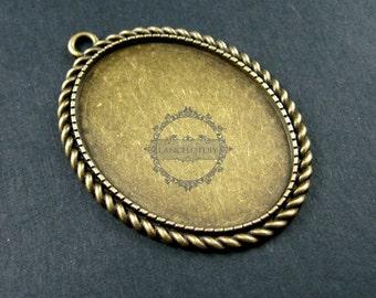 5pcs 30x40mm setting size vintage style bronze big oval pendant charm bezel base DIY supplies 1421047