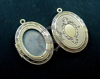 wholesale 5pcs vintage brass bronze locket pendant,photo locket,oval locket 1121004