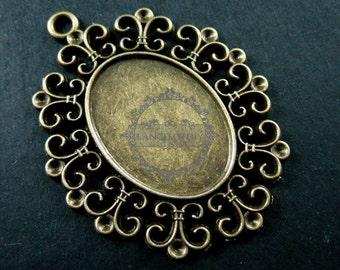6pcs 18x25mm vintage style antiqued bronze alloy oval filigree flower DIY bezel tray pendant 1421063