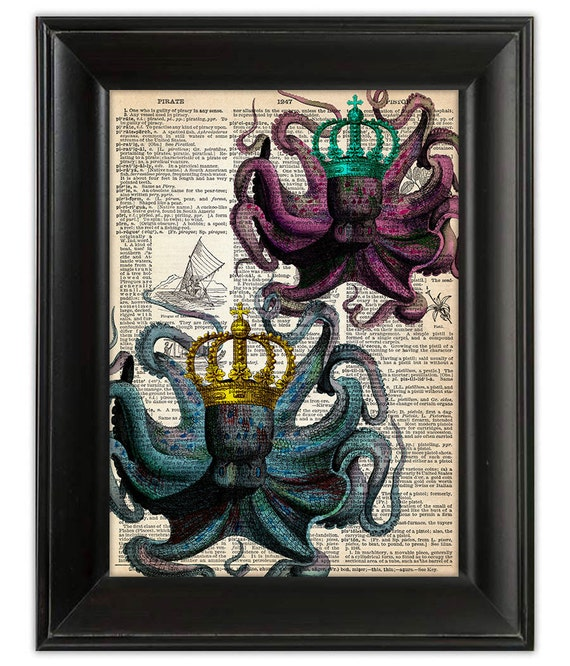OCTOPUS King Queen Pirate Art Print Poster By PatricianPrints