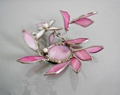 Pink Glass Flower, Unique 3D Stained Glass Flower, Decorative Candle Holder. Votive.