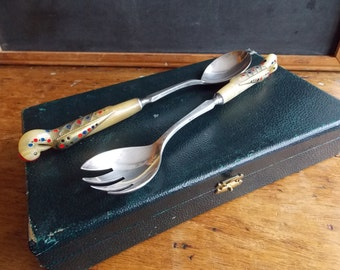 Sale Horn handled carved birds with inlaid brass and silver metal Made in Lebanon Salad Set