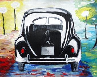 Surf VW Bug Series - The Black Volkswagen Bug Split Window - Limited Edition Fine Art Print