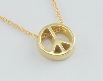 Solid 14K Rose Gold Peace Sign Pendant