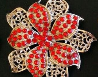 "Red Rhinestone Brooch Pin Filigree Silver Metal High End Floral Design 2.5"" Vintage"