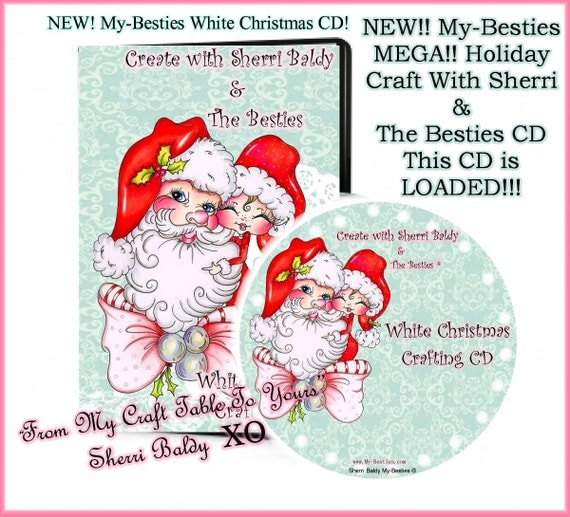 White Christmas MEGA CD ROM Digital Digi Stamps Color images Card toppers Papers 100s of Images Big Eyed Art My Bestie  By Sherri Baldy