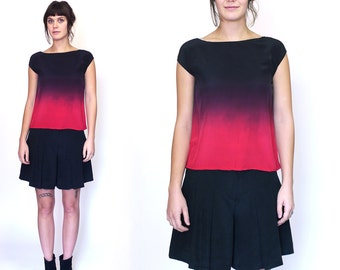 Ombre Silk Top, Red and black