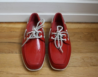 1970s Sperry Shoes // Womens Red Deck Top-Siders Boat Shoes Red Nautical Slip Ons Lace Up Rubber // Womens 6.5 6 7 US Six Seven 37 EU 4 UK
