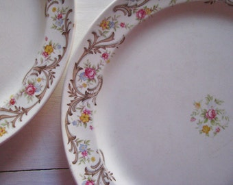 Beautiful Taylor Smith Taylor China Plates Roses Scrolls TST Farmhouse Shabby Chic Cottage French Bridal Wedding Pair Dishes