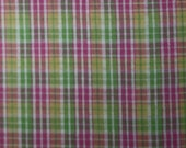 "Lime Green and Pink Plaid Seersucker 60"" Wide 1 3/8 yard"