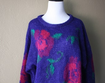 Vintage Oversized Floral Wool Sweater