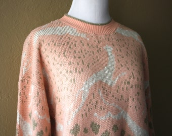 Vintage Pink and Gold Leaping Leopard Sweater