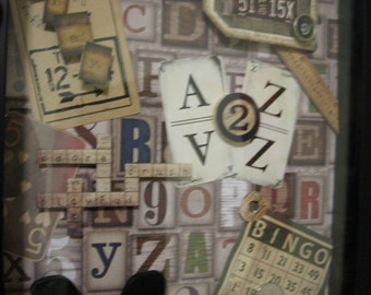 Letters & Numbers Collage Shadowbox Art