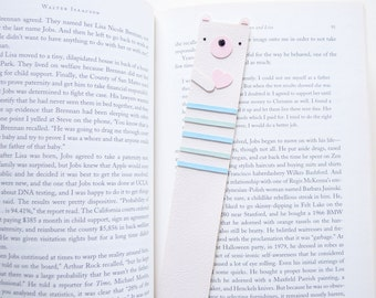 WHITE TEDDY bear BOOKMARK, animal bookmark with pastel stripes
