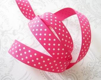 Hot Pink Swiss Dot Grosgrain Ribbon 5/8in -- 3 yards -- Magenta -- 16mm