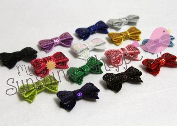 MINI Sequin Bow Appliques - set of 25