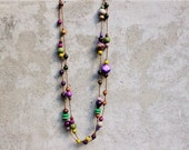 Extra long wooden bead necklace, purple, grey, green, wasabi, grey, autumn, winter, boho, gypsy, contemporary