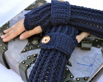 Navy blue fingerless gloves, arm warmers, texting gloves, crochet gloves, wrist warmers, hand warmers, mittens, warm gloves, winter gloves