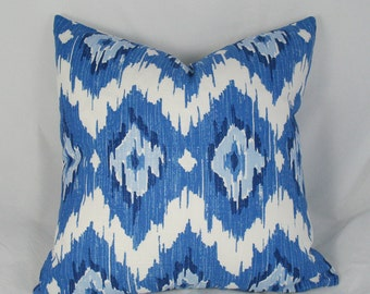 Duralee - Quinn Blueberry - Ikat - Red - Decorative Pillow Cushion Cover - Accent Pillow - Throw Pillow - 12 x 18 inch