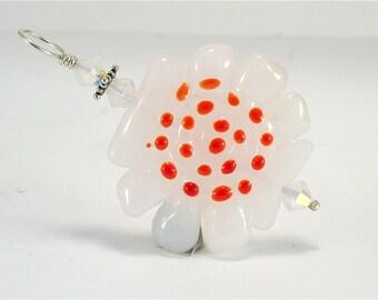 White Red Glass Lampwork Focal Bead Pendant - SRAJD