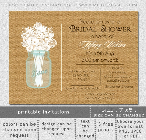 Printable bridal shower invitation template rustic bridal shower il570xn filmwisefo