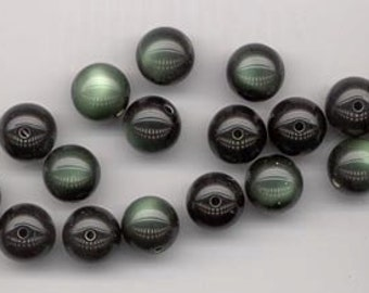 46 beautiful moonglow lucite beads 23-1 - dark forest green - 12 mm rounds
