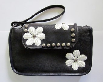 Studded Daisy Black & White Leather and Lace Clutch