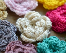 6 pcs Knitted Flower Cabochon Small Crocheted Flower Mixed Colors Woven Cloth Cabochon Cloth Jewelry supplies 33mm diameter
