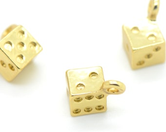 4 - Small dice charms in 24k Gold Plated Games Yahtzee Casino Vegas Dice Games G008