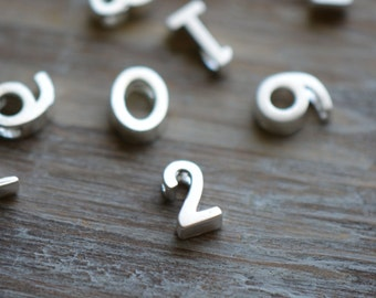 1 Pc Sterling Matte Silver Plated Metal Numbers Alphabet Charm Beads Tiny Delicate Pretty Monogram initial letter