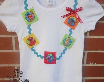 Girls Sesame Street Shirt, Necklace Shirt, Grover, Bert, Ernie,Girls Shirt, 12 months, 18 months, 2, 3, 4, 5, 6