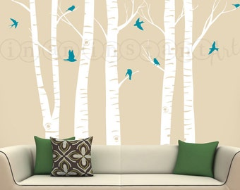 Tree Wall Decals | Five Birch Trees with Soaring Flying Birds Vinyl | Custom Baby Nursery, Living Room, Children's Room Interior Designs 019