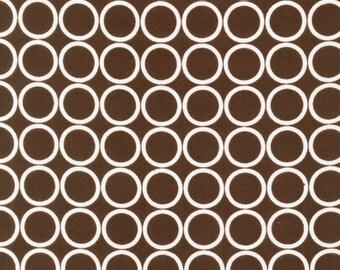 Robert Kaufman Fabrics - Metro Living - Cream Circles on Espresso-Choose Your Cut 1/2 or Full Yard