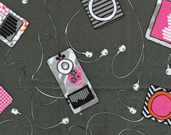 Benartex Fabric - Think Pink - My Songs - Gray - Novelty Fabric- Choose Your Cut 1/2 or Full Yard