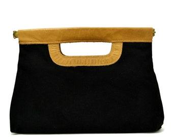 Vintage Brown Leather Clutch Vtg 1970s Black Canvas Handbag 70s Boho Hippie Shoulder Bag Purse