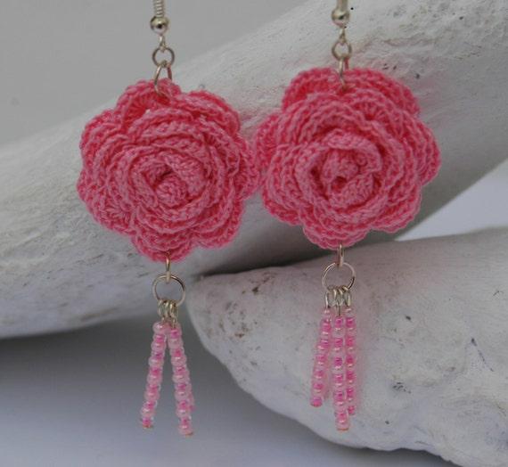 Crochet Hook Earrings: Crochet Earring Jewelry Large Crochet Earring Pink By