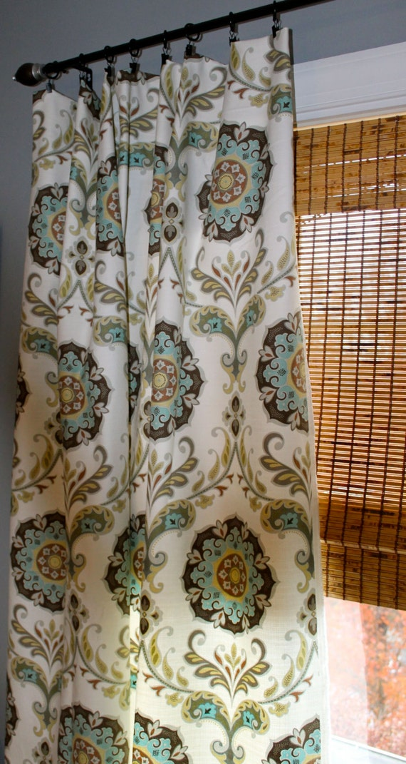Items Similar To Turquoise Yellow Grey Brown And White Medallion Curtain Panels Custom