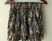 "Vintage 1990s ""Califonia Sport Gear"" Tribal Print Shorts- Size Medium Black Brown Muscle Beach Bodybuilding Pockets Cotton Polyester"