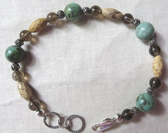 Unisex African Turquoise, Picture Jasper, Smoky Quartz and Sterling Silver Bracelet